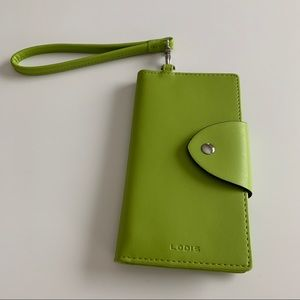 Lodis Green Leather Wristlet/Clutch
